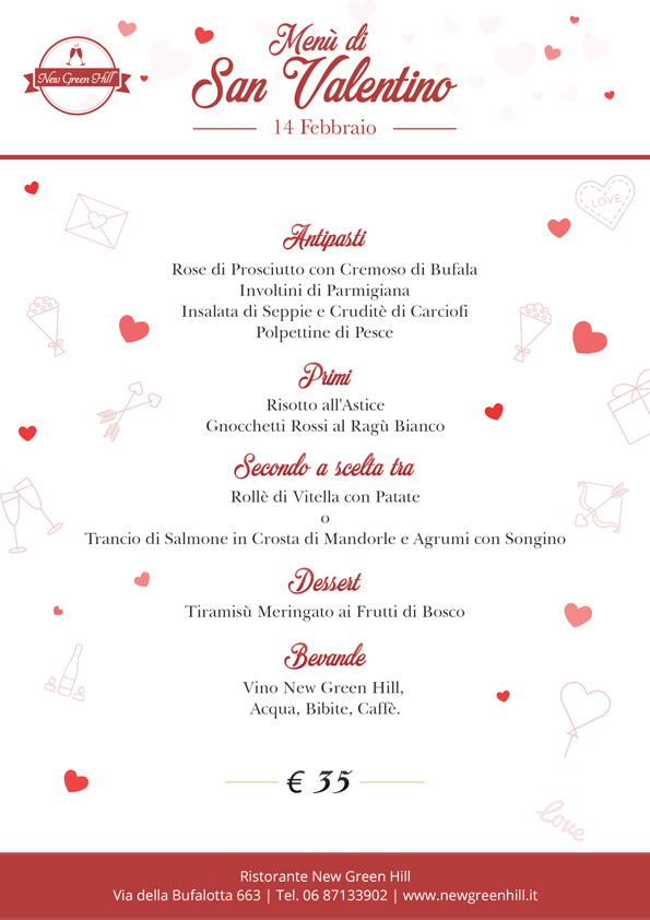 menu san valentino new green hill